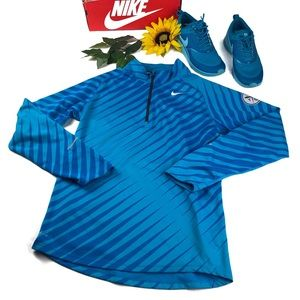 Nike Element 72 1/4 zip pullover blue striped